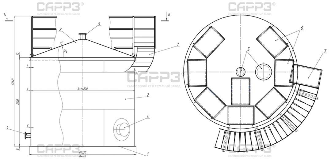 Чертеж бака-аккумулятора БАГВ-50-4200