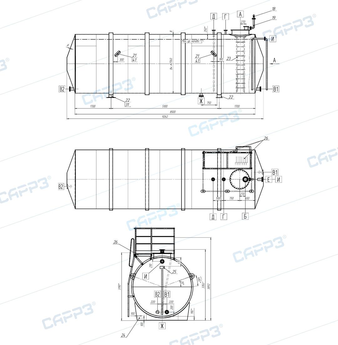 Чертеж горизонтального бака-аккумулятора объемом 50 м3